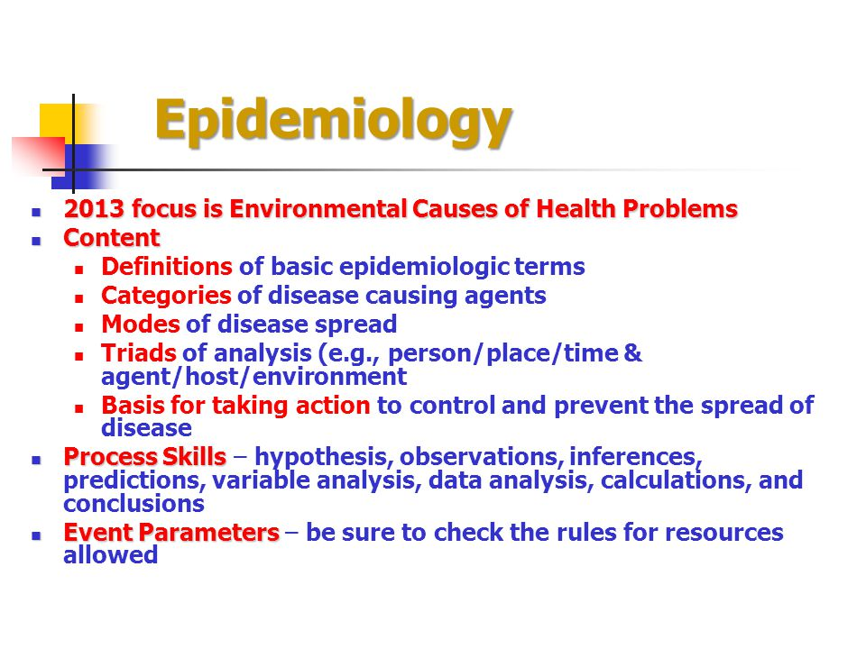 Epidemiology 2013 focus is Environmental Causes of Health Problems