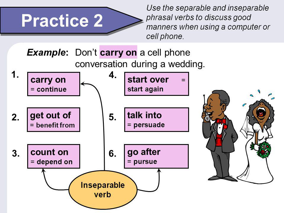 Use the separable and inseparable phrasal verbs to discuss good manners when using a computer or cell phone.