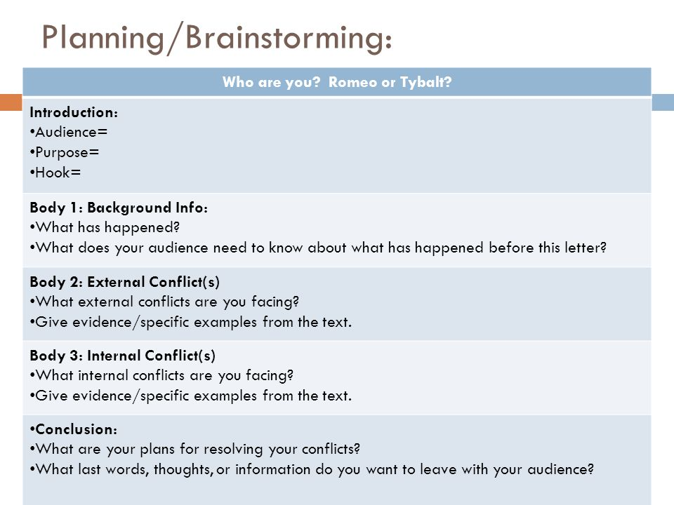 Planning/Brainstorming: