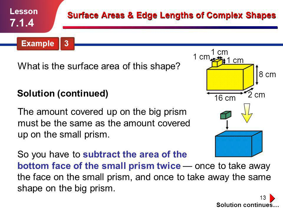 7.1.4 What is the surface area of this shape Solution (continued)
