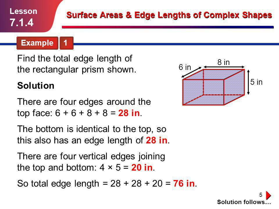 7.1.4 Find the total edge length of the rectangular prism shown.