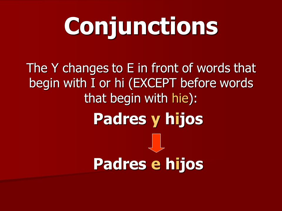 Conjunctions Padres y hijos Padres e hijos