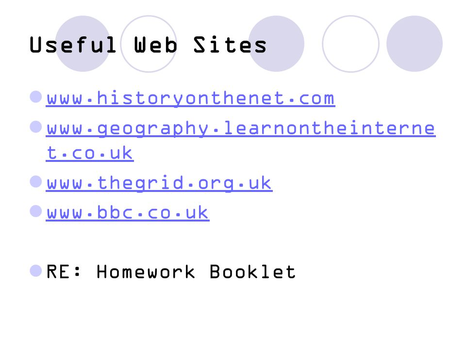 Useful Web Sites www.historyonthenet.com