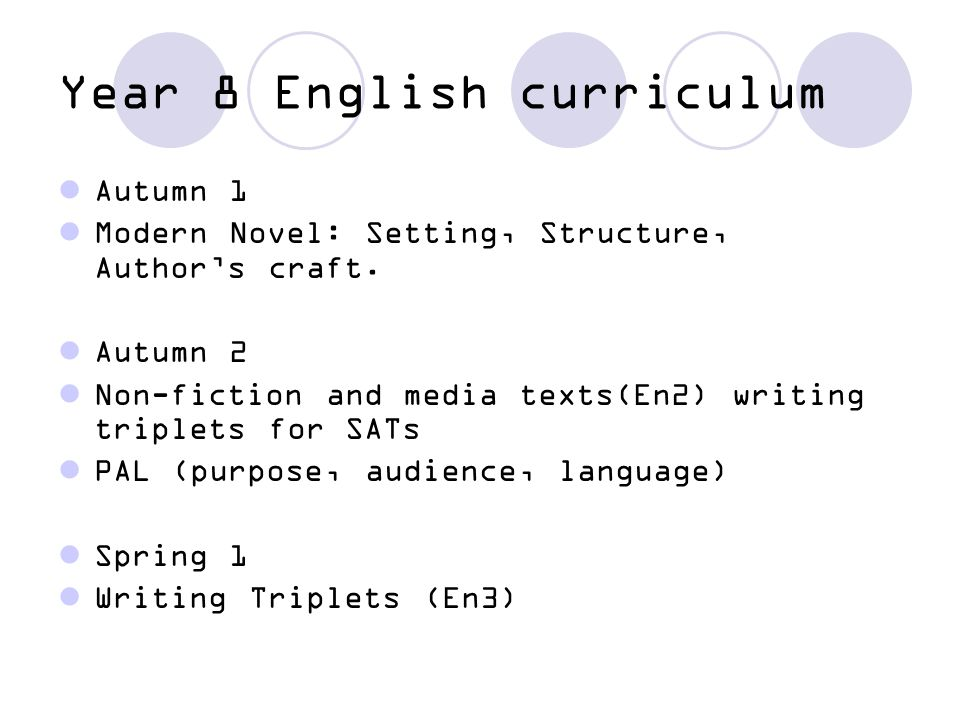 Year 8 English curriculum