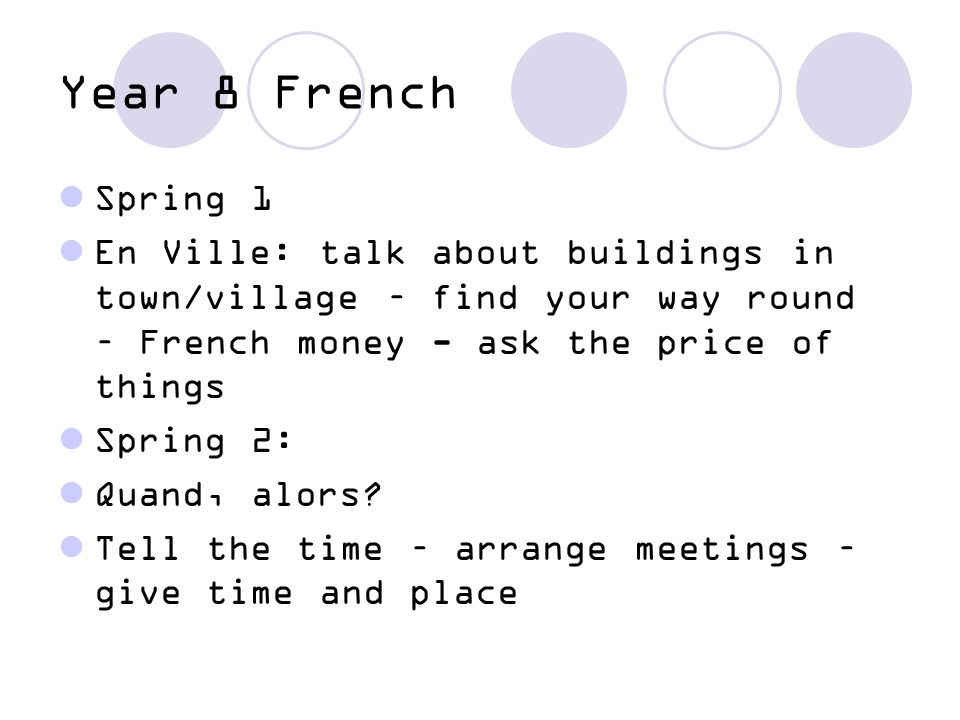Year 8 French Spring 1. En Ville: talk about buildings in town/village – find your way round – French money - ask the price of things.