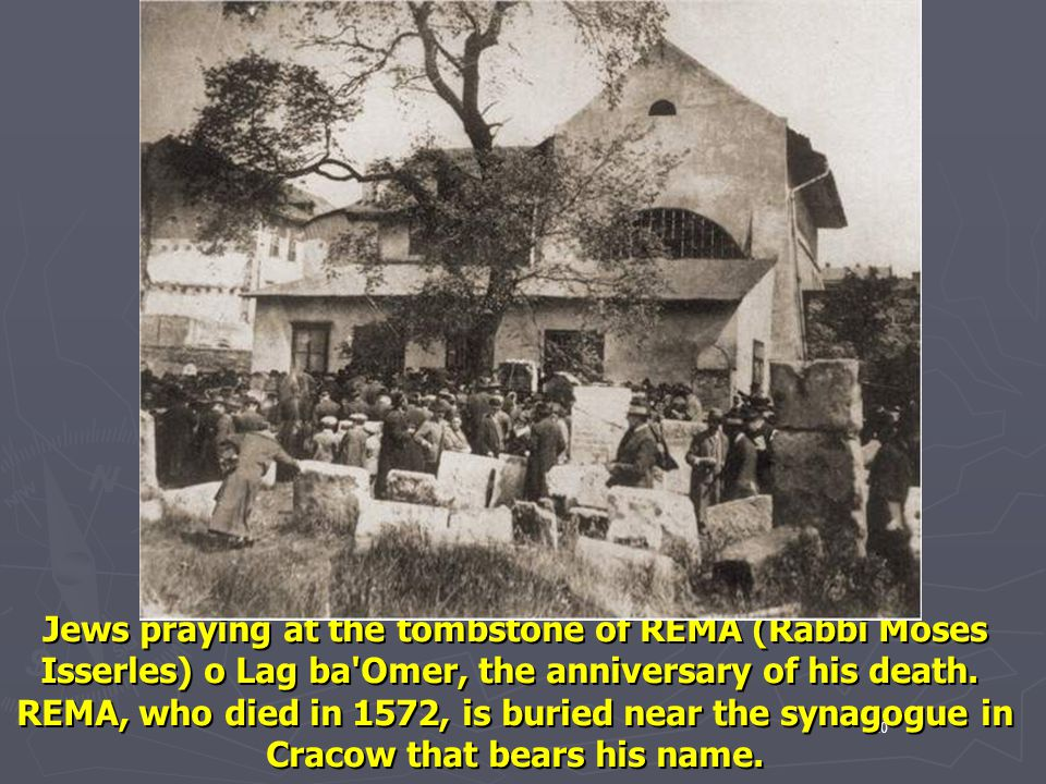 Jews praying at the tombstone of REMA (Rabbi Moses Isserles) o Lag ba Omer, the anniversary of his death.