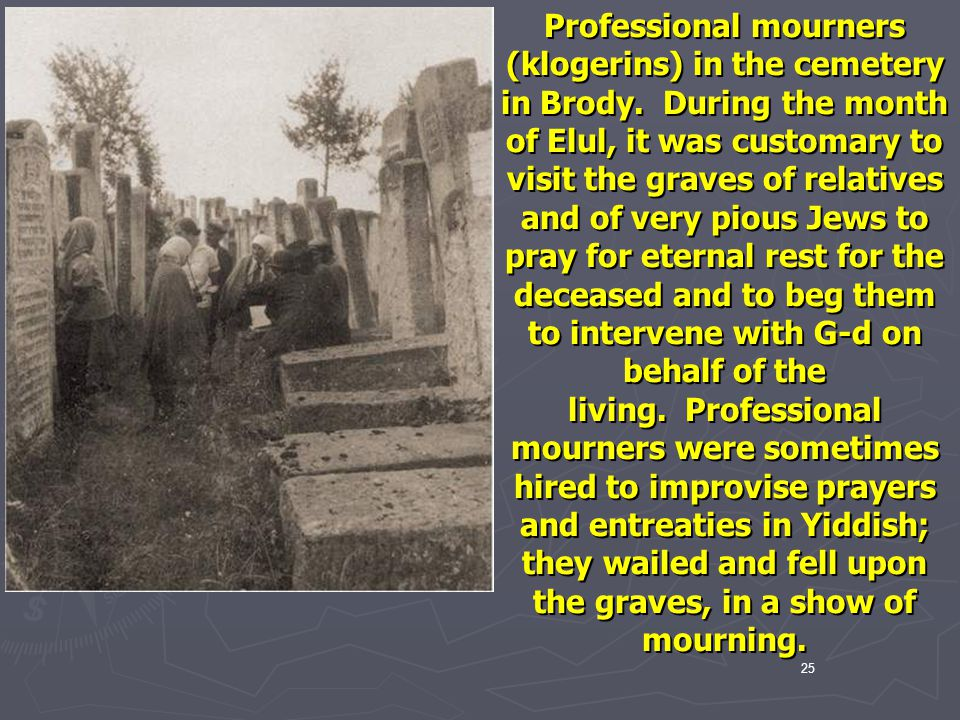 Professional mourners (klogerins) in the cemetery in Brody