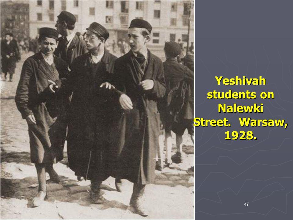 Yeshivah students on Nalewki Street. Warsaw, 1928.