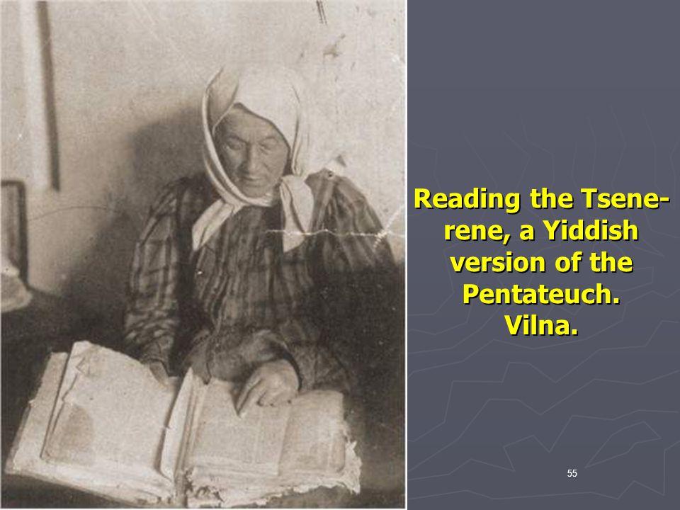 Reading the Tsene-rene, a Yiddish version of the Pentateuch.