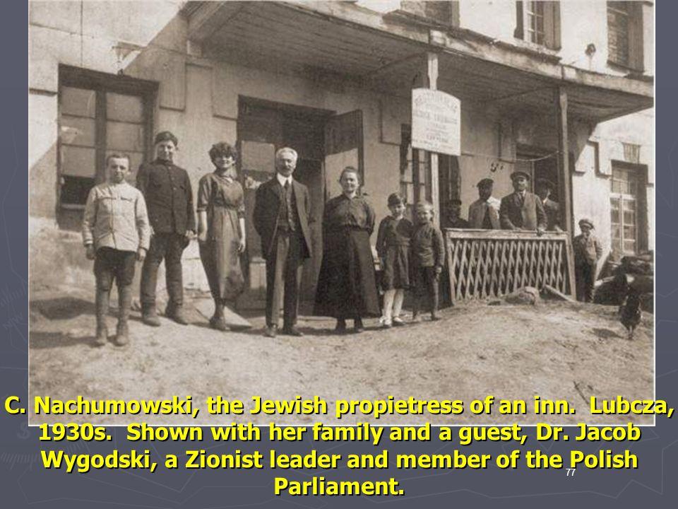 C. Nachumowski, the Jewish propietress of an inn. Lubcza, 1930s