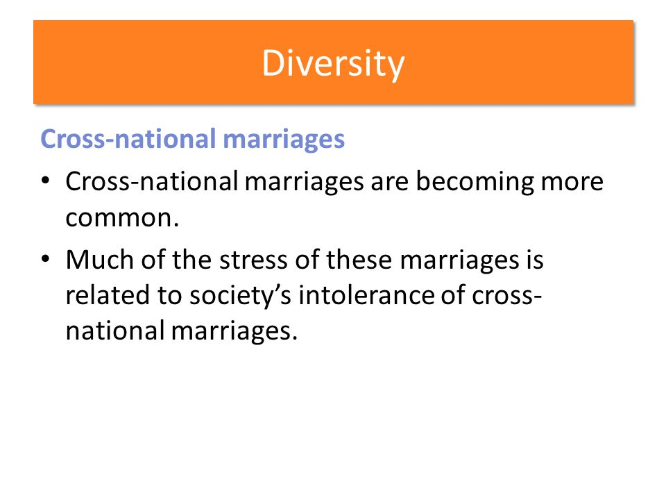 Diversity Cross-national marriages
