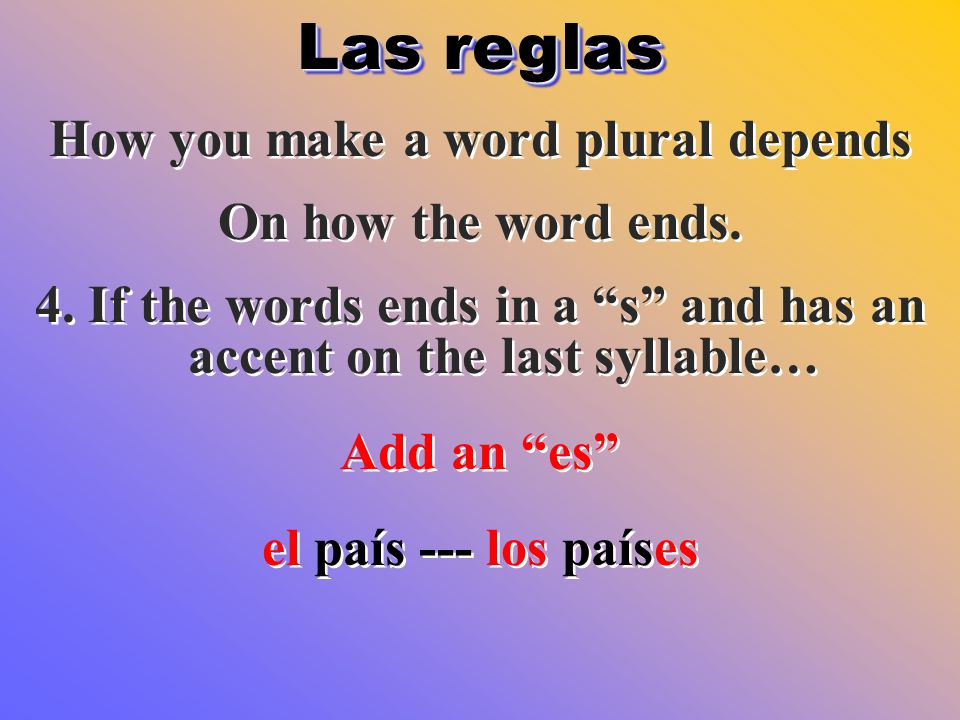 Las reglas How you make a word plural depends On how the word ends.