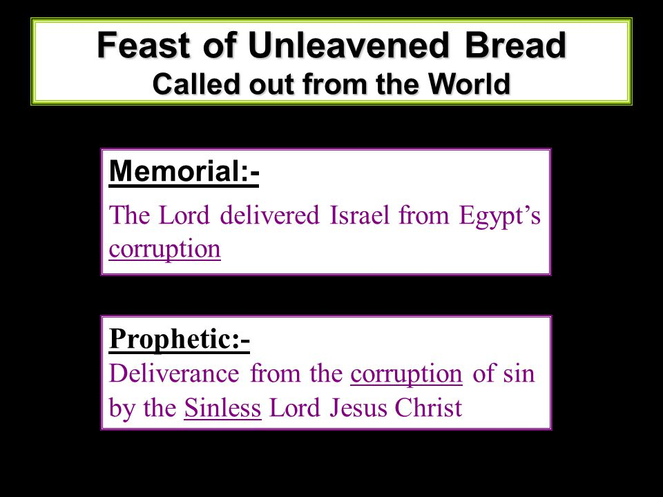Feast of Unleavened Bread Called out from the World