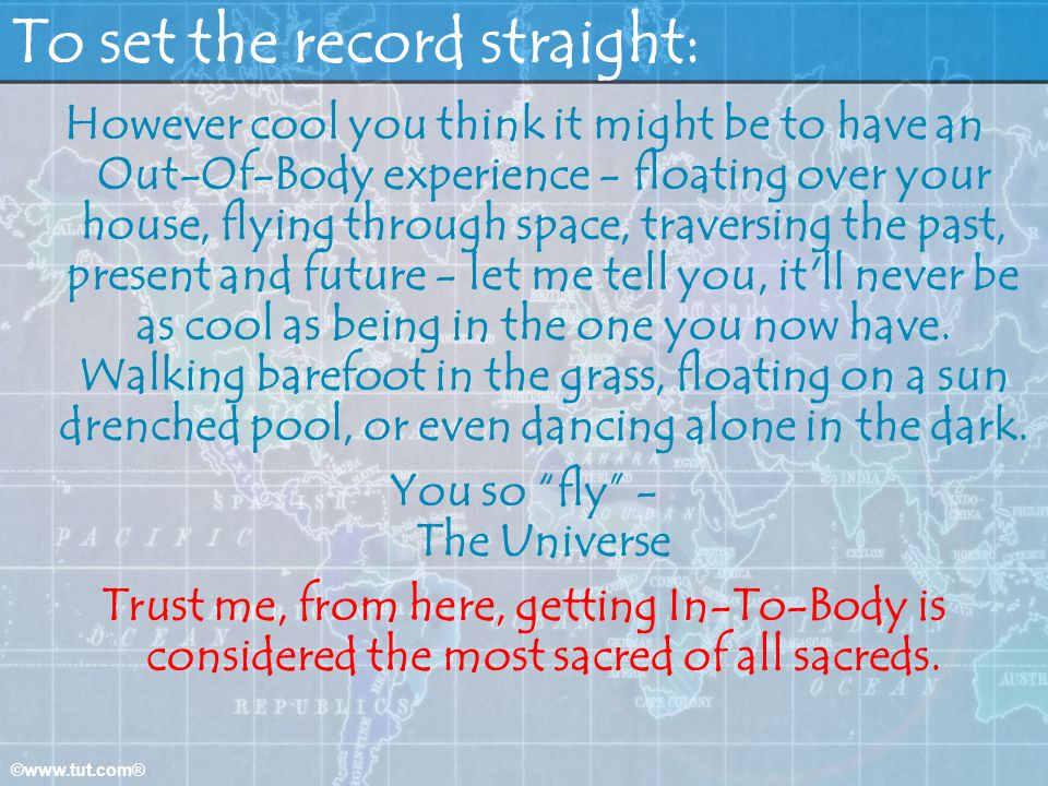 To set the record straight: