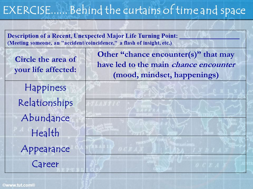 EXERCISE...... Behind the curtains of time and space