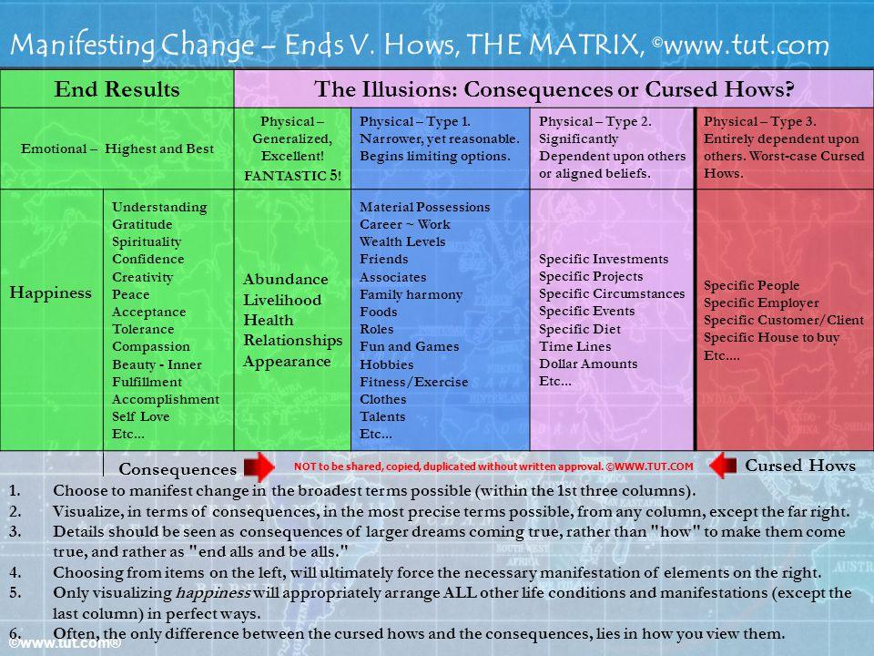 Manifesting Change – Ends V. Hows, THE MATRIX, ©www.tut.com