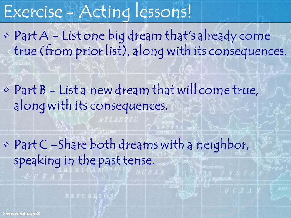 Exercise - Acting lessons!