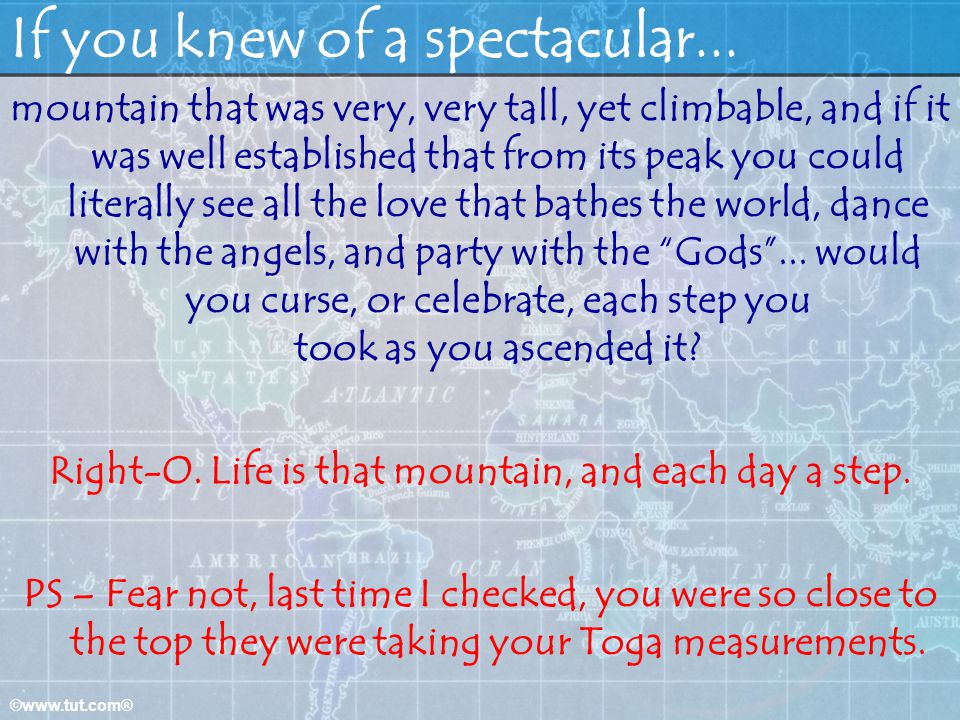 If you knew of a spectacular...