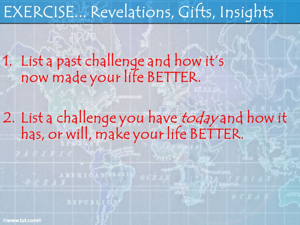 EXERCISE... Revelations, Gifts, Insights