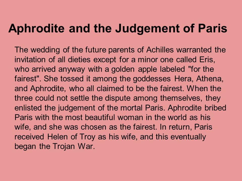 Aphrodite and the Judgement of Paris