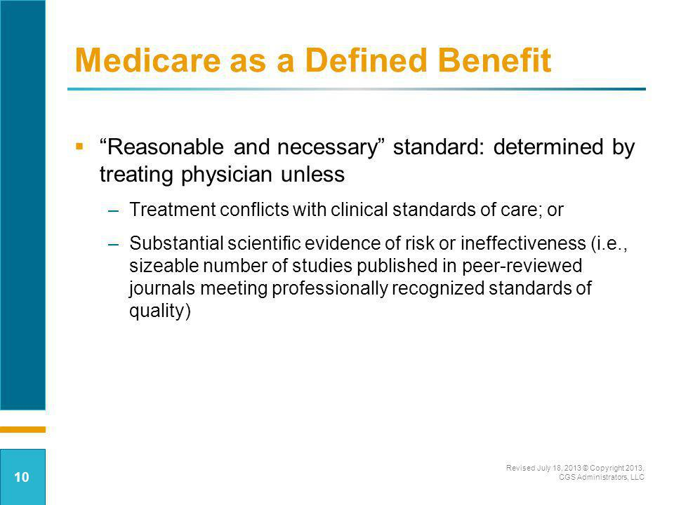 Medicare as a Defined Benefit