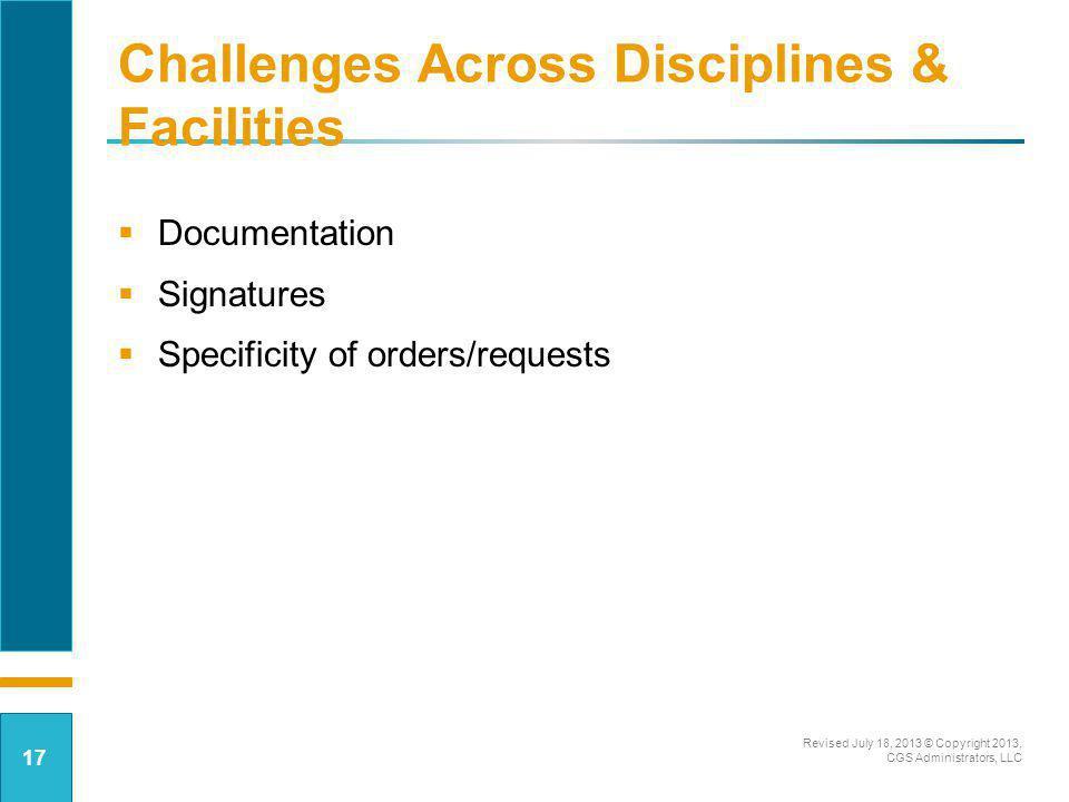 Challenges Across Disciplines & Facilities