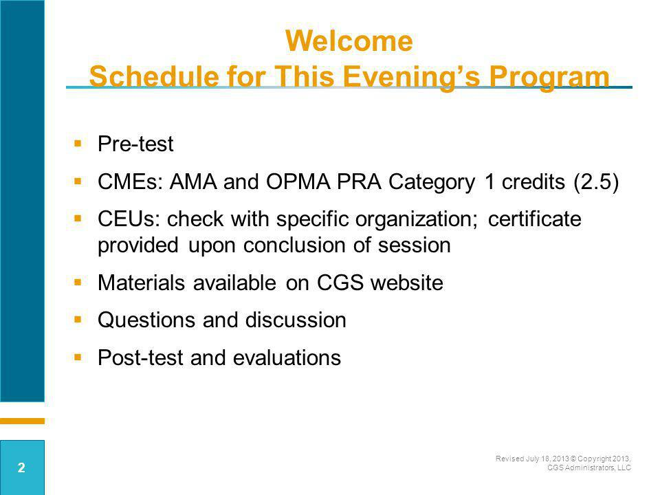 Welcome Schedule for This Evening's Program