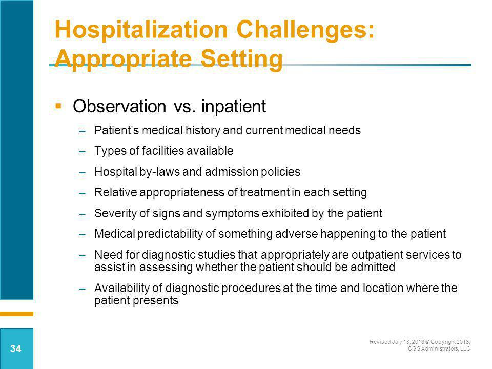Hospitalization Challenges: Appropriate Setting