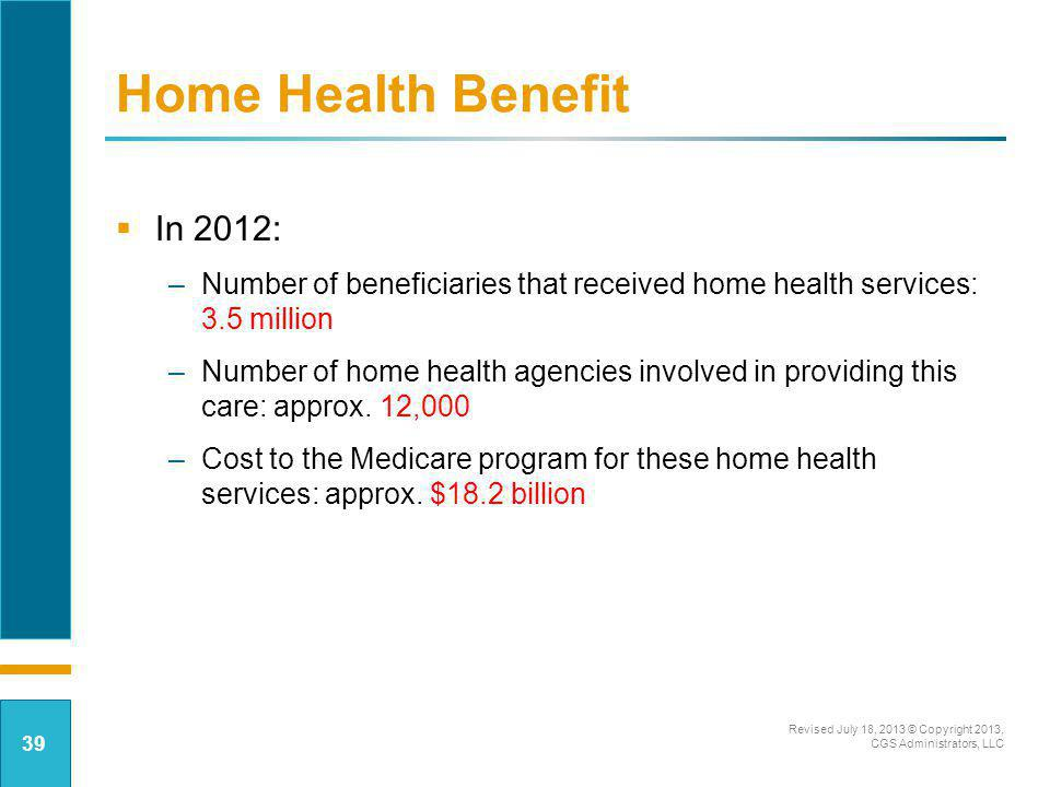 Home Health Benefit In 2012: