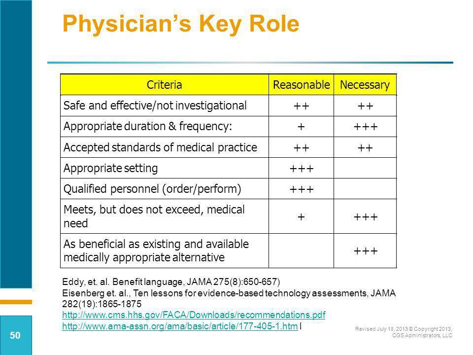 Physician's Key Role Criteria Reasonable Necessary
