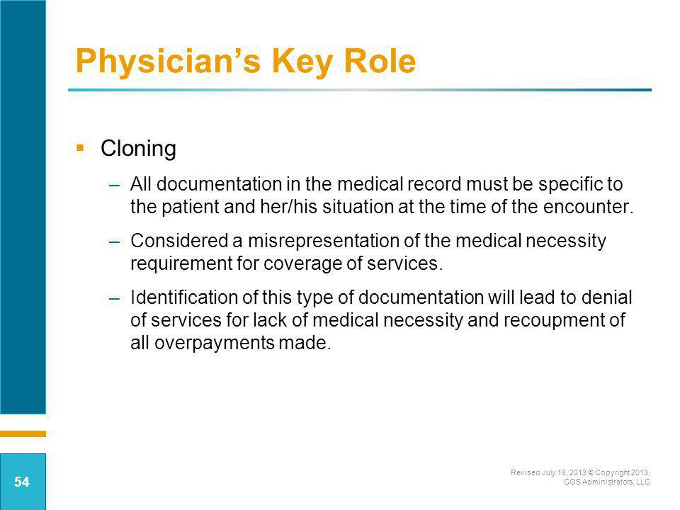 Physician's Key Role Cloning