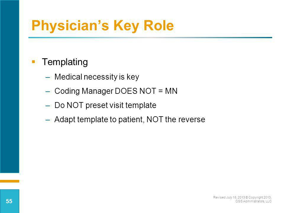Physician's Key Role Templating Medical necessity is key