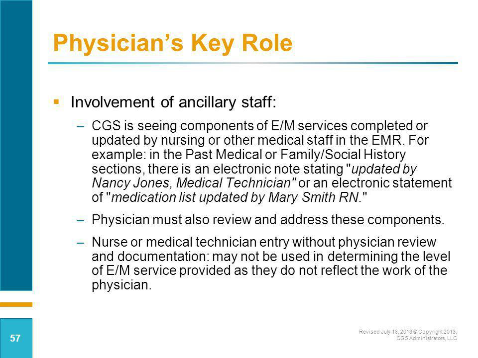 Physician's Key Role Involvement of ancillary staff: