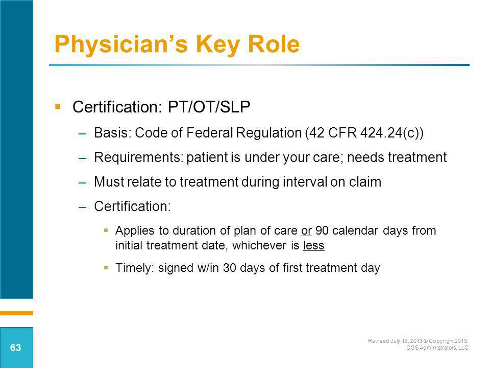 Physician's Key Role Certification: PT/OT/SLP