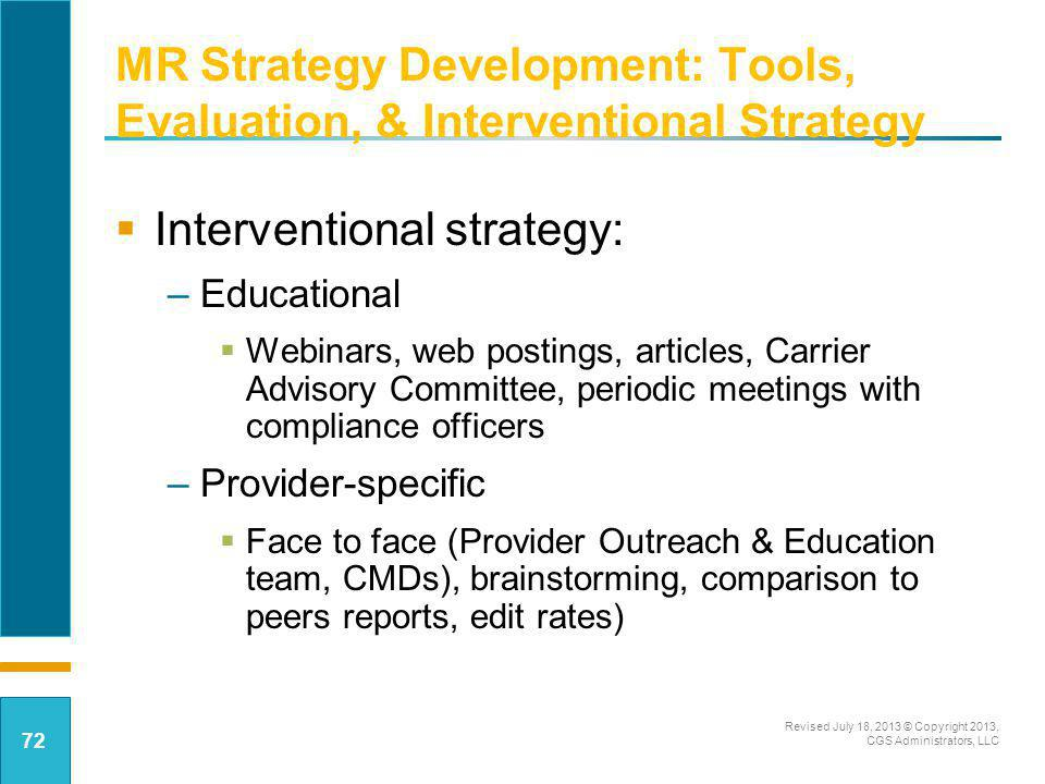 MR Strategy Development: Tools, Evaluation, & Interventional Strategy
