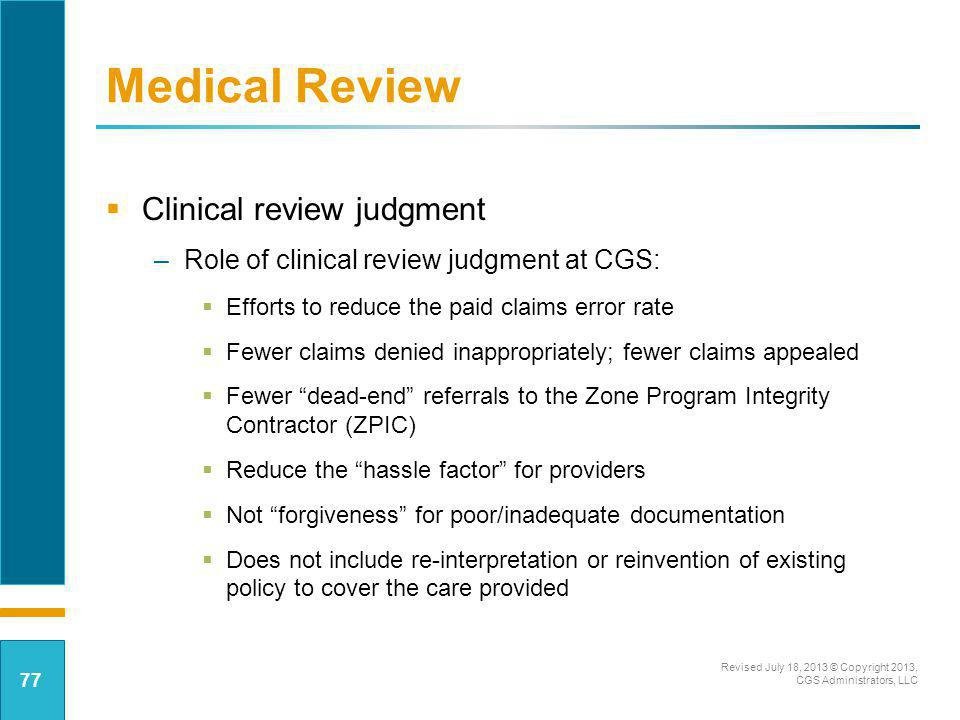 Medical Review Clinical review judgment
