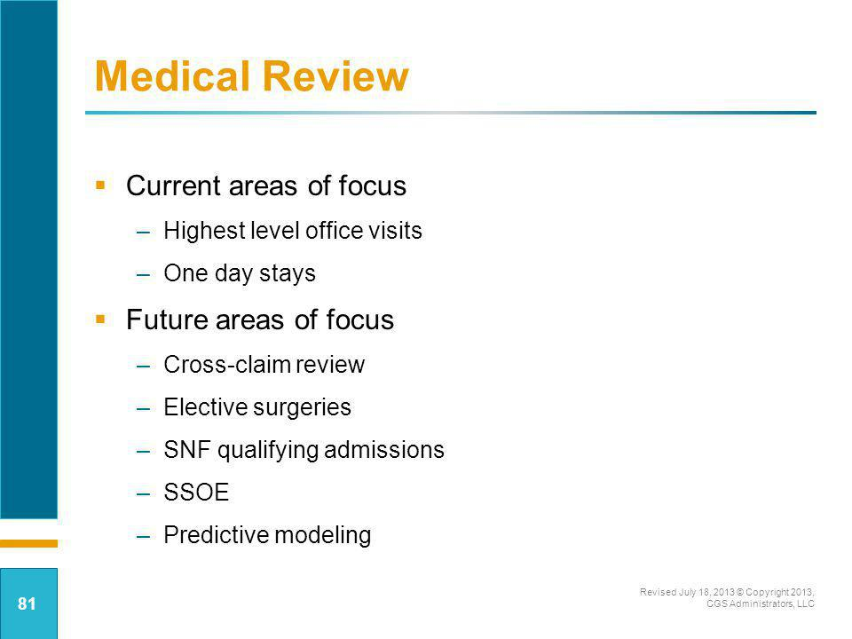 Medical Review Current areas of focus Future areas of focus