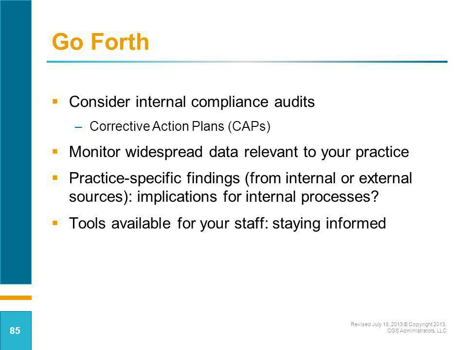 Go Forth Consider internal compliance audits
