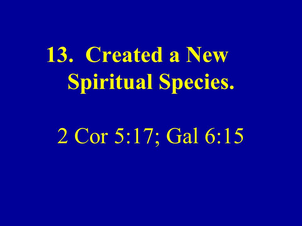 13. Created a New Spiritual Species. 2 Cor 5:17; Gal 6:15