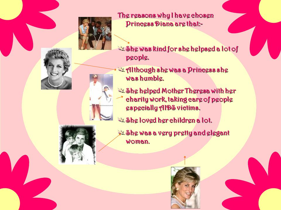 The reasons why I have chosen Princess Diana are that:-
