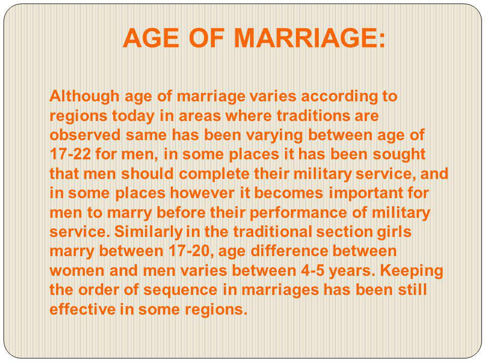 AGE OF MARRIAGE: