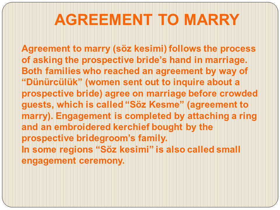 AGREEMENT TO MARRY
