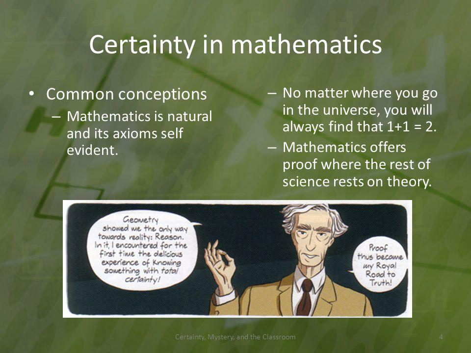 Certainty in mathematics