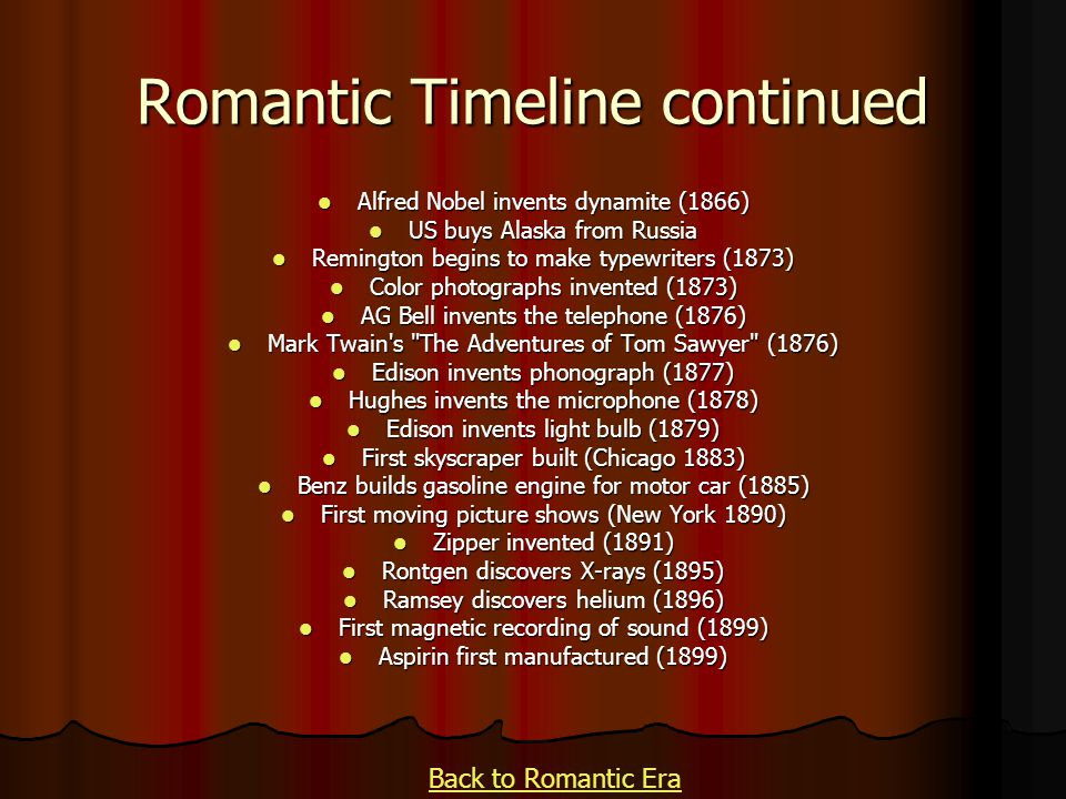 Romantic Timeline continued