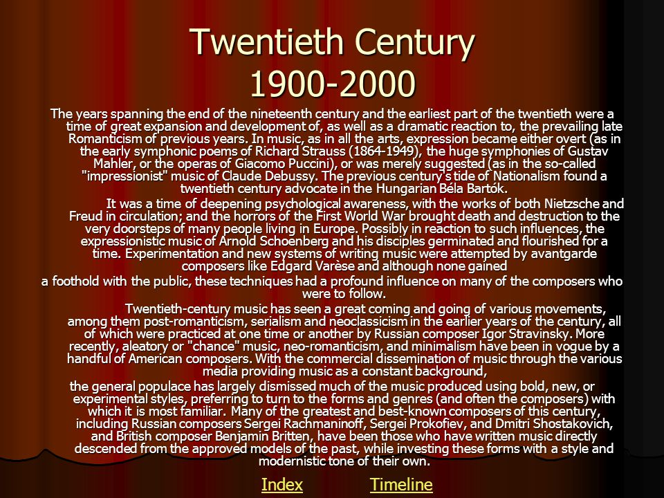 Twentieth Century 1900-2000 Index Timeline