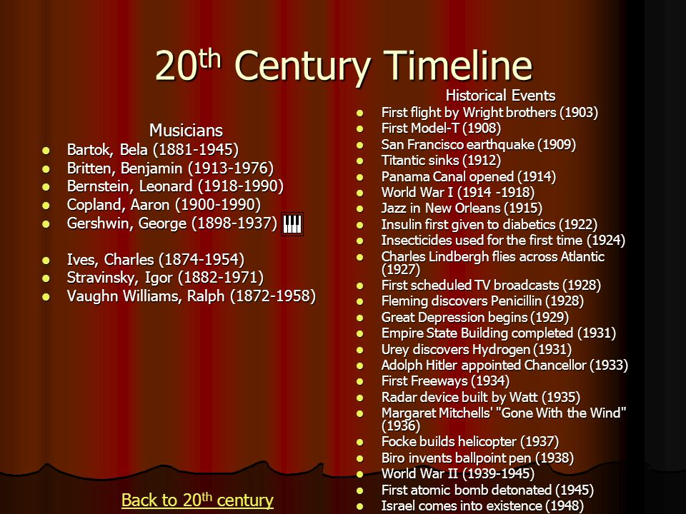 20th Century Timeline Musicians Back to 20th century Historical Events