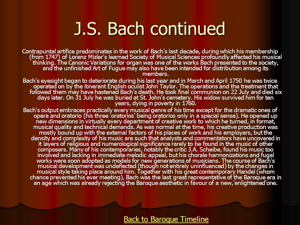 Back to Baroque Timeline
