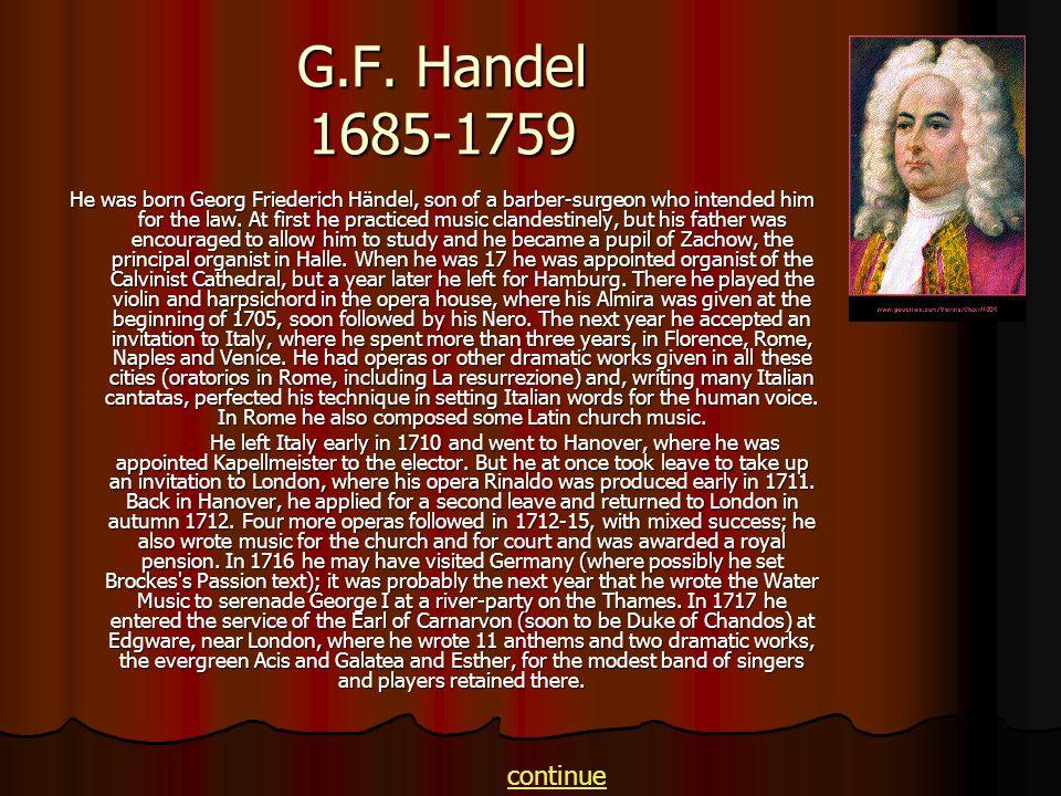 G.F. Handel 1685-1759