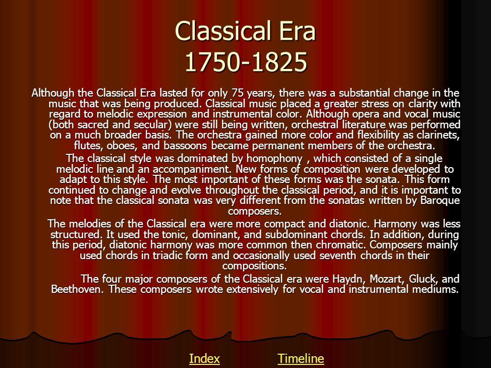 Classical Era 1750-1825 Index Timeline