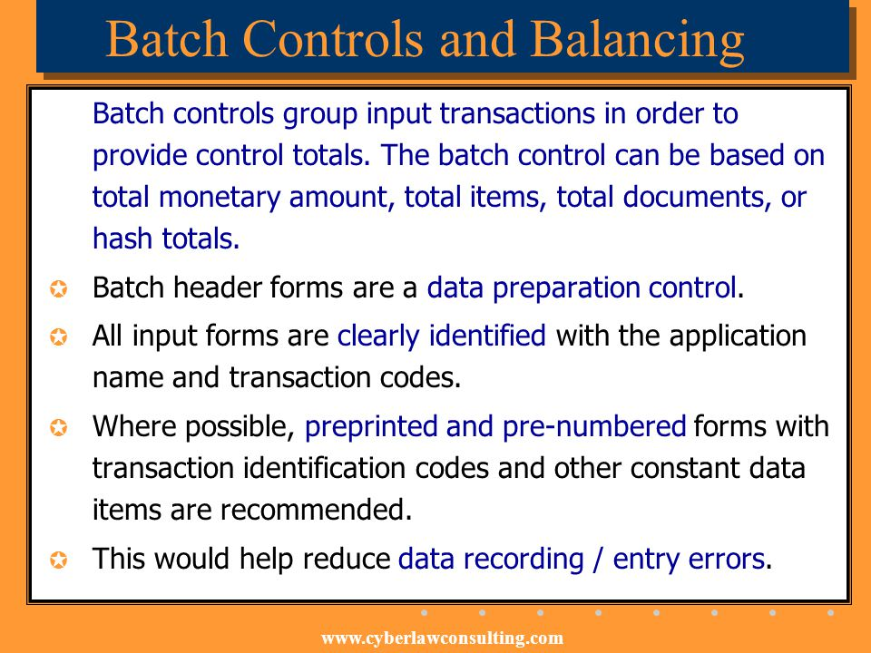 Batch Controls and Balancing